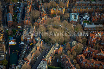 Aerial view of East London, Boundary Estate, Hackney.