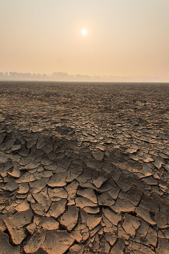 Dry, cracked mud on the Ganges River, Varanasi, India.