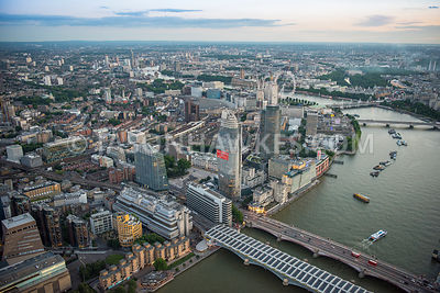 Aerial view of London, Southbank and Blackfriars.