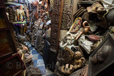 Religious figures in a shop at Chor Bazaar, also known as the Thieves Market, Mumbai, India.