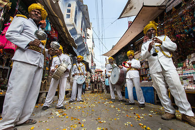 Musicians play at a parade on Mahashivaratri (Shiva's birthday), Pushkar, Rajasthan, India