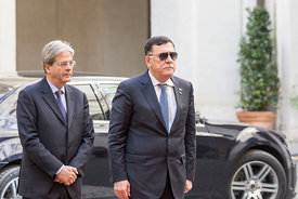 Prime Minister of Italy Gentiloni welcomes his Libyan counterpart Fayez al-Sarraj to the Palazzo Chigi, Rome, Italy, 20, Mar,...