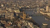 Aerial footage of Westminster, London