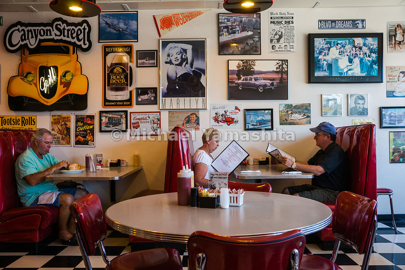 Diners in the Canyon Street Grill, West Yellowstone, Montana...Yellowstone National Park, America's and world's first Nationa...