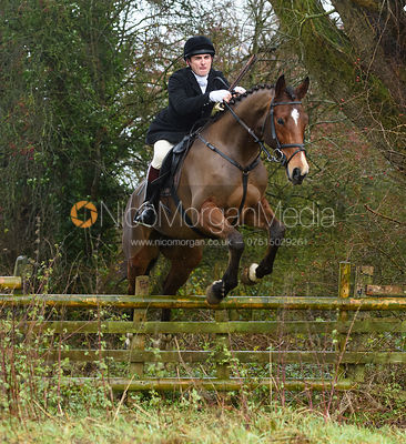 George Corbin jumping a hunt jump in Holwell. The Belvoir Hunt at Hill Top Farm 1/12