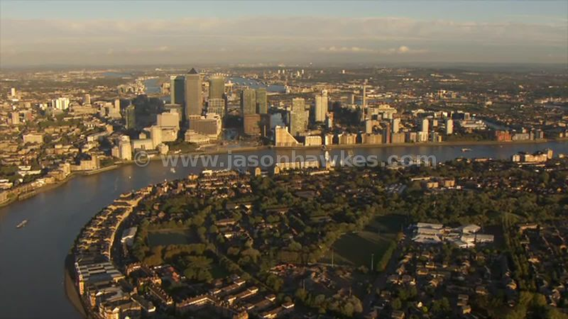 Aerial footage of Rotherithe and Canary Wharf, London