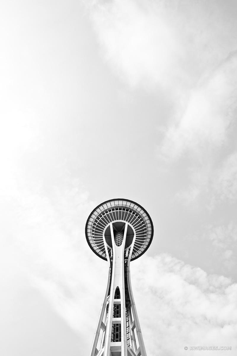 SPACE NEEDLE SEATTLE BLACK AND WHITE