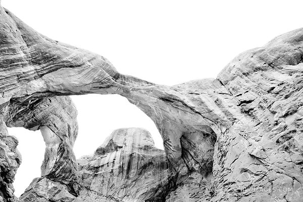 DOUBLE ARCH ARCHES NATIONAL PARK UTAH BLACK AND WHITE