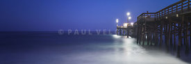 Newport Beach Balboa Pier at Night Panorama Photo