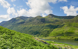 The summits of Red Pike, High Stile above Buttermere on a sunny day in the English Lake District, UK.