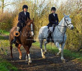 Doone Chatfeild-Roberts, Sophie Oliver near Denton. The Belvoir Hunt at the Kennels 13/11