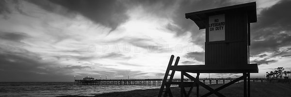 Newport Beach Lifeguard Tower Black and White Panorama Photo