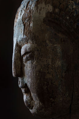 Buddha sculpture, collection of Qian YiShi, his Pudong apartment