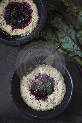Balsamic and Honey Roasted Beets with Millet Polenta