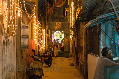Lights on a side street during the Durga Puja festival, Kalighat, Kolkata, India