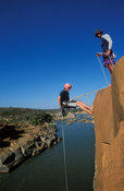 Abseiling above the Usutu river, Swaziland