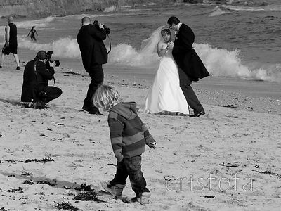 wedding photographs  on the beach at Falmouth