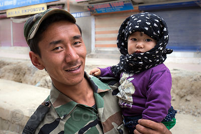 A Ladakhi (Army) Scout and his toddler daughter in Leh, India