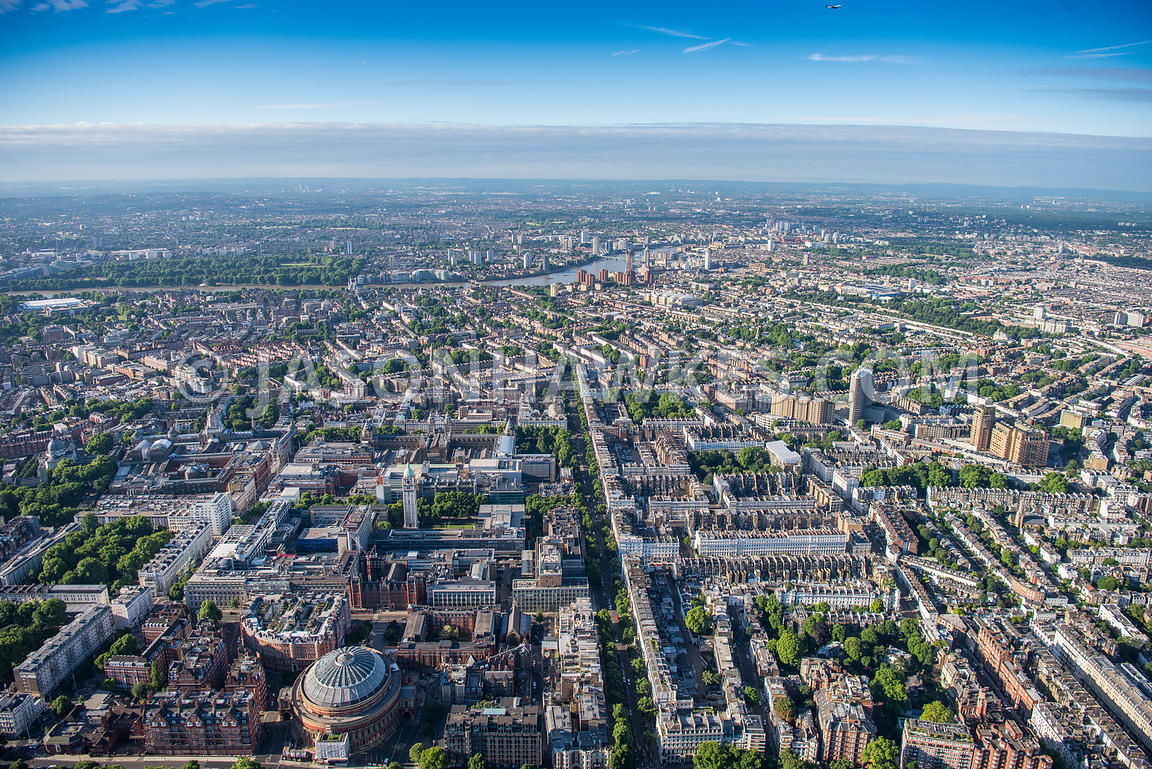 Aerial view of London, Queen's Gate, South Kensington.