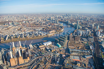 Aerial view of London, Battersea Power Station development with River Thames.