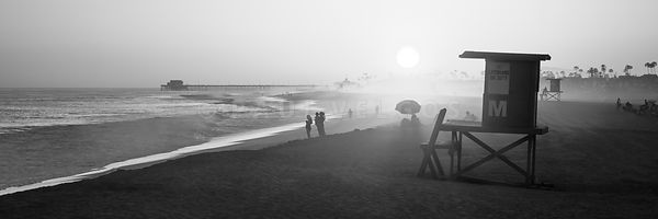 Newport Beach Lifeguard Tower M Black and White Panorama Photo