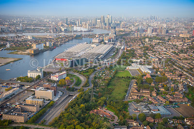 Aerial view of London, Canning Town at Royal Victoria Dock.