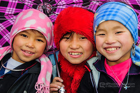 Black Hmong Girls with Umbrella