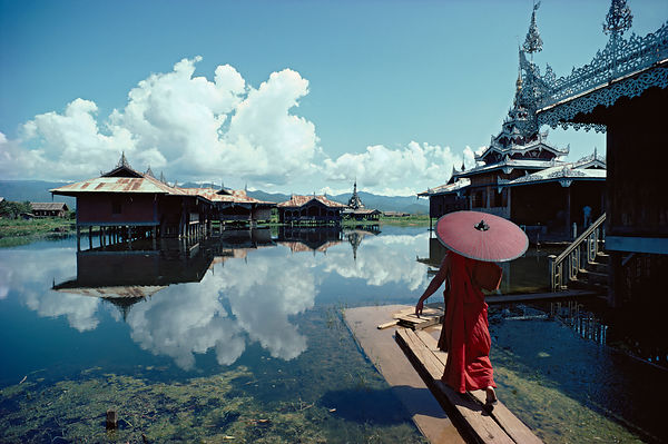 Monk walking, Lake Inle