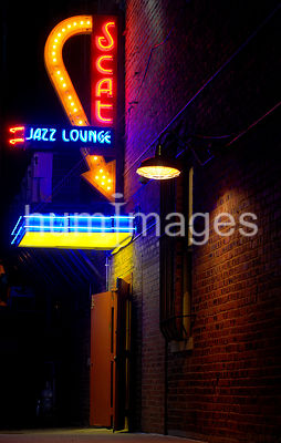 (close up) Scat Nightclub in Ft. Worth, Texas (colorful image)