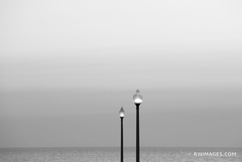 STREET LAMPS LAKE MICHIGAN BEFORE SUNRISE CHICAGO BLACK AND WHITE