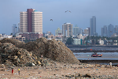 Garbage piles up in Mahim Bay, Mumbai, India. Mumbai's landfills are projected to fill up soon, with the massive Deonar dump,...