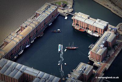 aerial photograph of Wakeboardsing /  Water Skiing at  Albert Docks Liverpool Merseyside England UK
