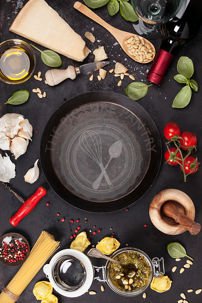 italian food background, healthy food concept or ingredients for cooking pesto sauce on a vintage background top view with co...