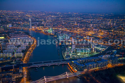 Aerial view of Battersea Power Station at night, London