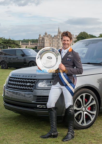 Christopher Burton (AUS) with the Land Rover Burghley Horse Trials dish