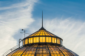 Anna Scripps Whitcomb Conservatory in Belle Isle Park Backlit by Setting Sun