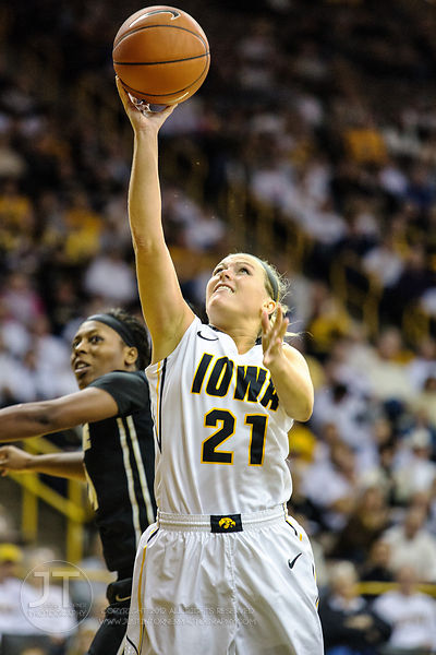 Iowa's Melissa Dixon (21) drives to the basket versus Purdue during the second half of play at Carver-Hawkeye Arena in Iowa C...