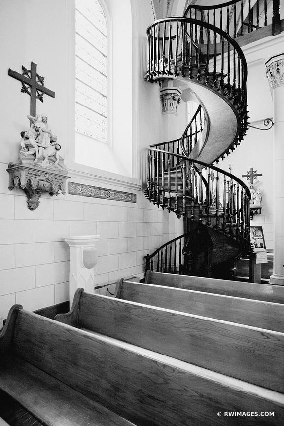 LORETTO CHAPEL STAIRCASE SANTA FE NEW MEXICO BLACK AND WHITE