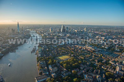 Aerial view of the Thames, London