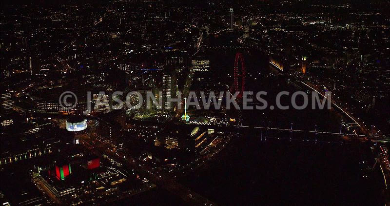 London night aerial footage, London Eye.