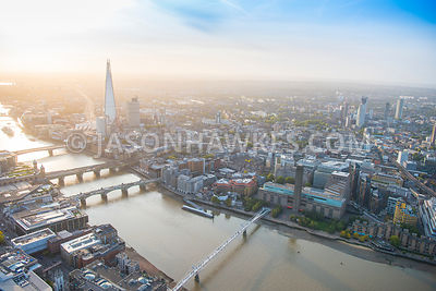 Aerial view of London, River Thames from Millennium Bridge with Southwark Bridge, Cannon Street Railway Bridge and London Bri...