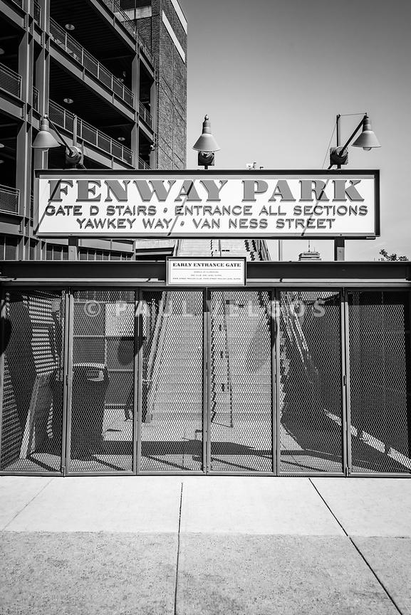 Boston Fenway Park Sign Black and White Photo