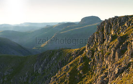 Views of Great Gable from Scoat Fell at sunrise In the English Lake District, UK.