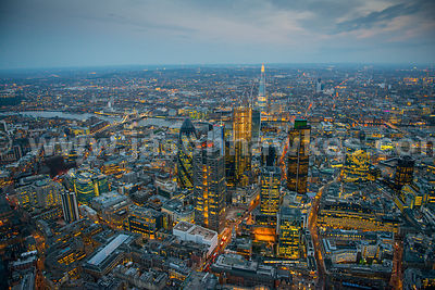 Aerial view of the City of London at dusk, London