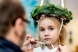 Young Nordic girl as Saint Lucia bride