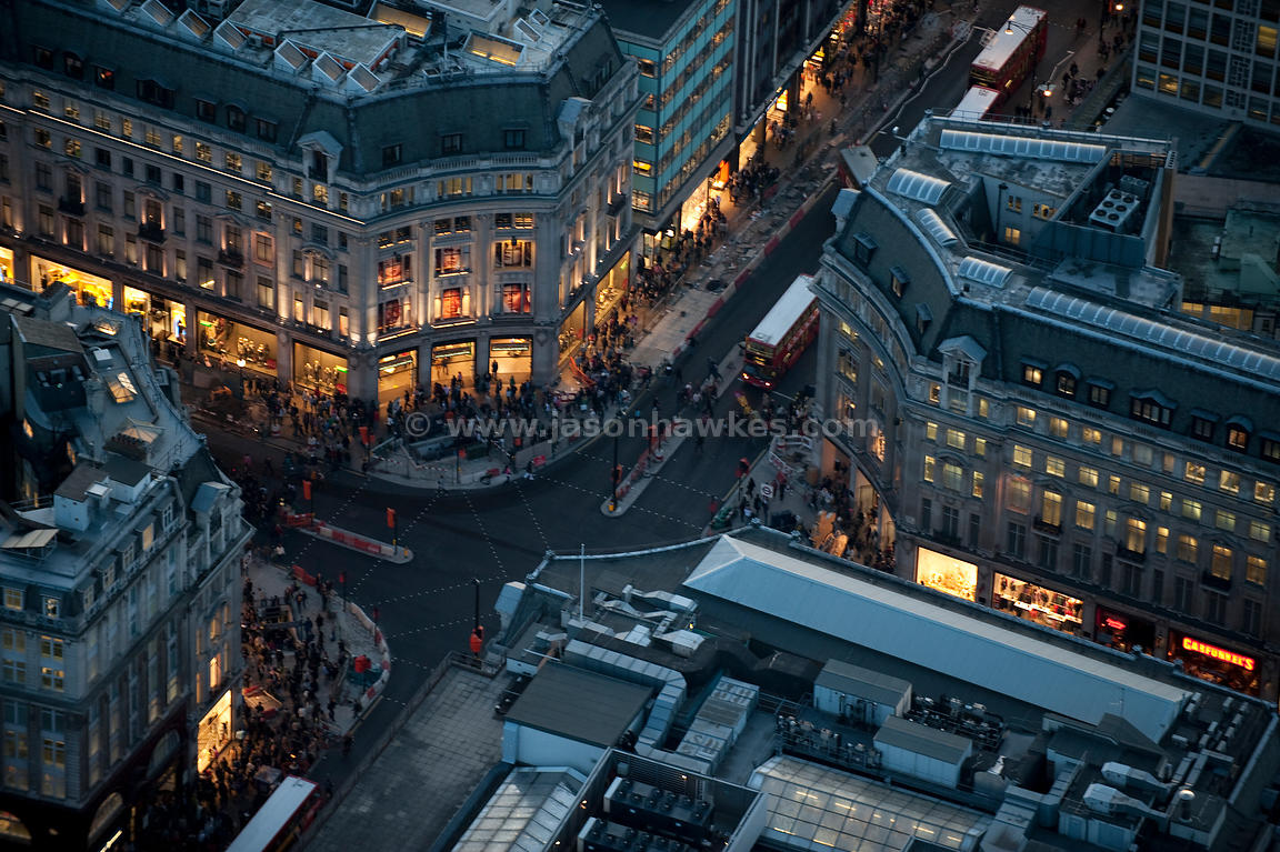 Aerial view over Oxford Circus at night, London