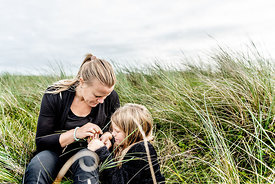 Danish mother and daughter in the dunes in Thy