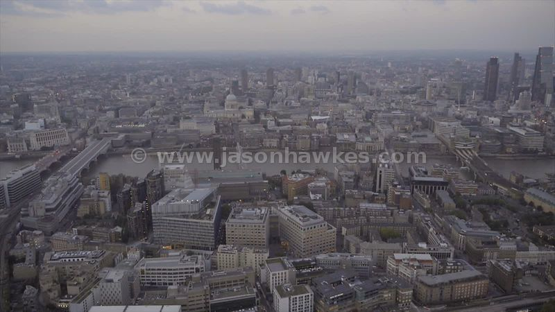 Aerial footage of Southwark and City of London