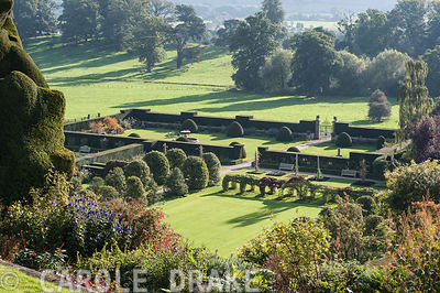 View down to the Formal and Fountain gardens from the terraces at Powis Castle Garden in the autumn