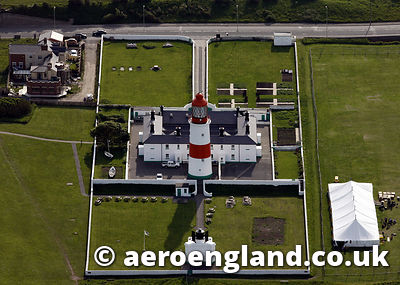aerial photograph of Souter Lighthouse  in Tyne & Wear North East England  UK